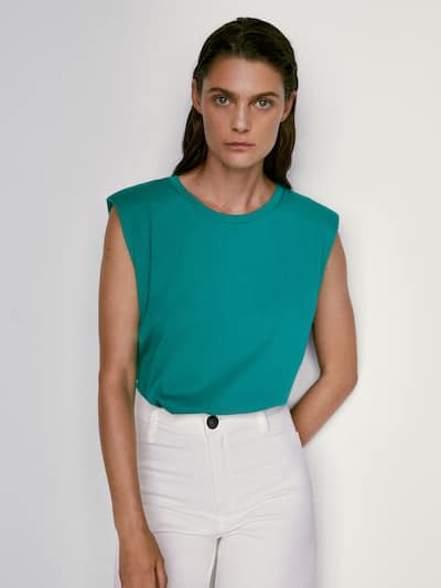 마시모두띠 민소매 탑 Massimo Dutti Cotton top with shoulder pads,GREEN