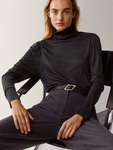 High neck top with gathered sleeves