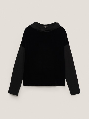 Sweatshirt with velvet detail