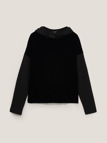Sweatshirt with velvet detail