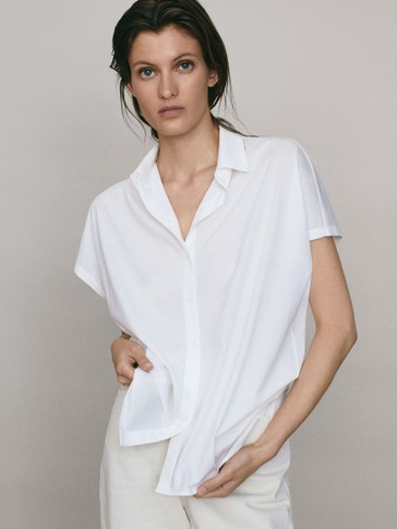 Cotton shirt-style T-shirt