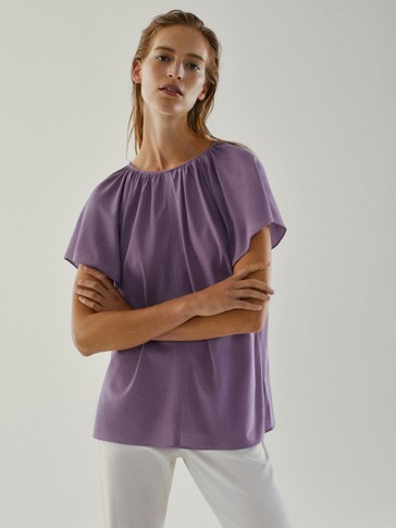 Flared-sleeve cotton T-shirt