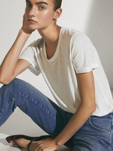 T-shirt à col rond en lyocell et en lin