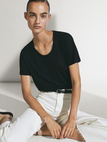 Lyocell/linen crew neck T-shirt