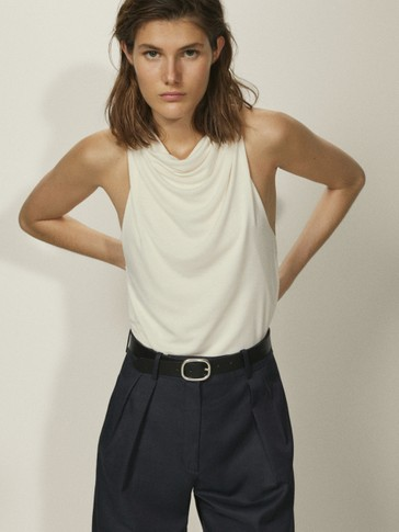 Lyocell T-shirt with draped detail