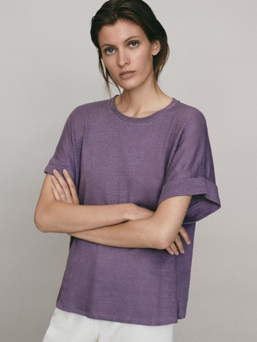 Linen T-shirt with turn-up detail