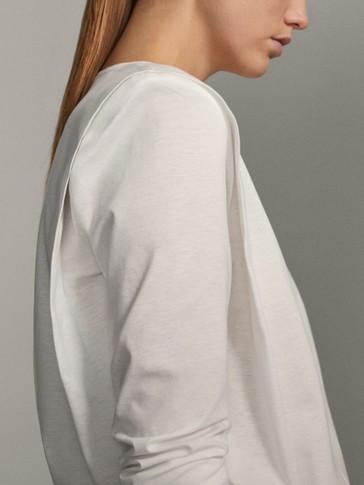 Shirt aus reiner Baumwolle mit Zierfalten an den Schultern