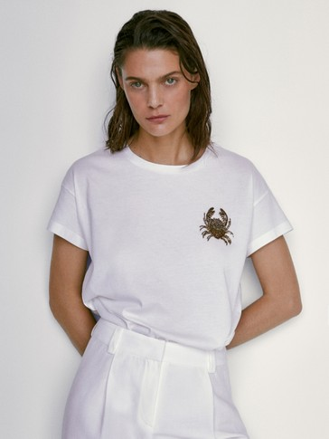 Cotton T-shirt featuring dragonfly detail