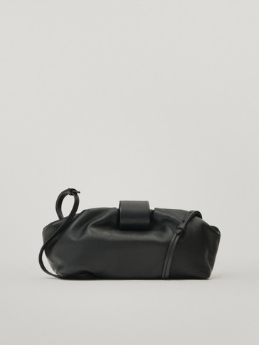 Leather crossbody bag with pouch bag