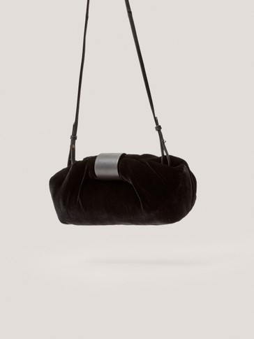 Кадифена чанта тип кесия