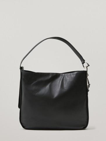 Black shoulder leather bag