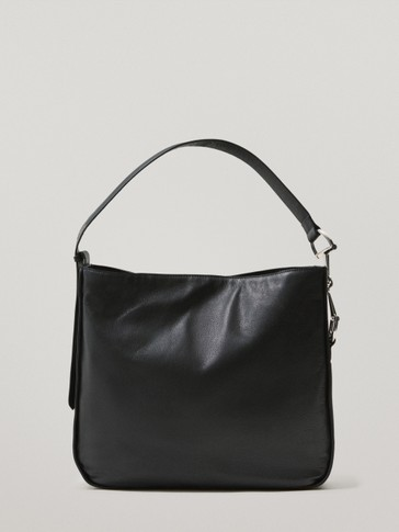 Black shoulder leather bag