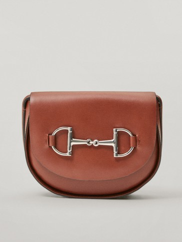 Nappa leather crossbody bag with horsebit detail
