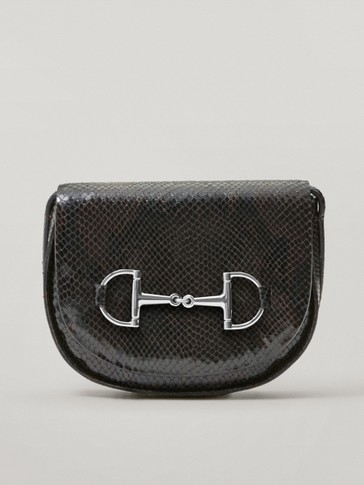 Leather snakeskin print crossbody bag with horsebit detail