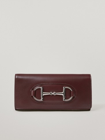 Nappa leather clutch bag with horsebit