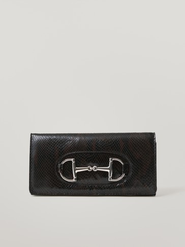 Snakeskin-effect leather clutch bag with horsebit