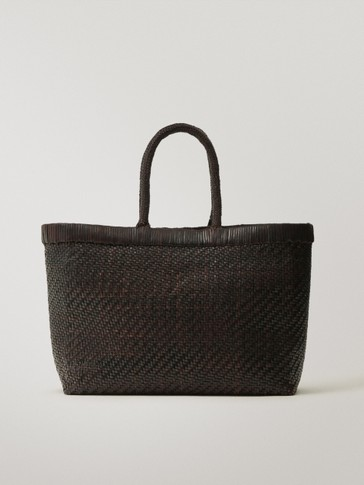 Woven leather basket bag