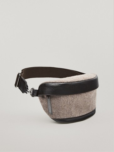 Wool and leather belt bag