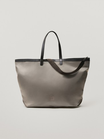 Shopper bag with leather details