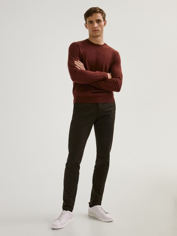 Slim fit check cotton trousers