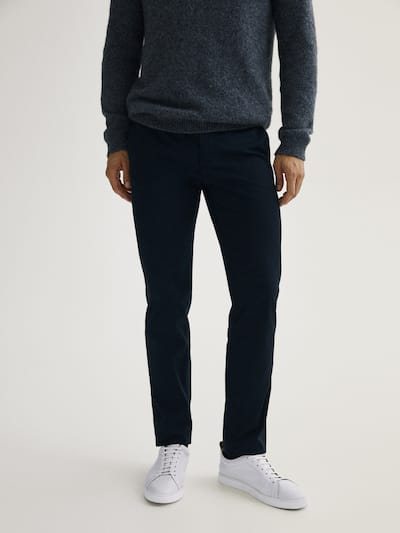 마시모두띠 Massimo Dutti Regular fit cotton chinos,NAVY BLUE