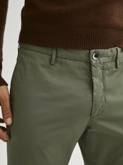 마시모두띠 Massimo Dutti Regular fit cotton chinos,KHAKI