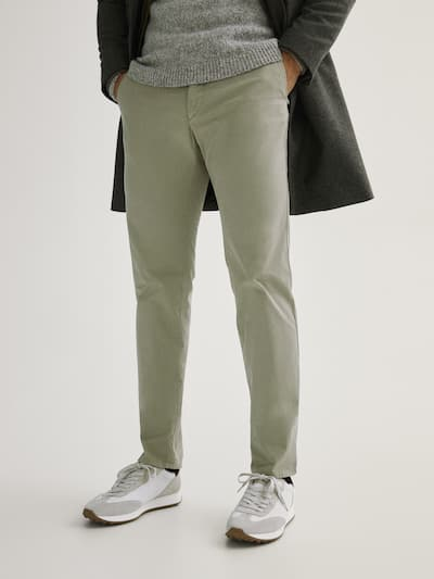 마시모두띠 Massimo Dutti Regular fit cotton chinos,STONE