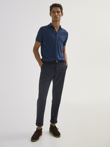 Pantaloni slim fit chino in lino e cotone