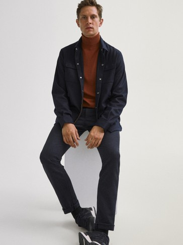 Cotton/wool jogging fit chino trousers