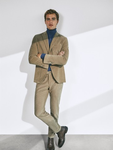 Slim-fit moleskin chinos