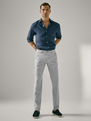 SLIM FIT COTTON LINEN TROUSERS