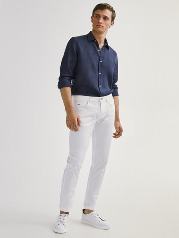 Slim fit denim-effect trousers