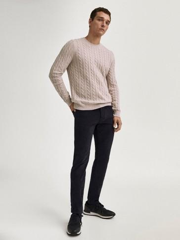 Pantalón vaqueiro sarga slim fit