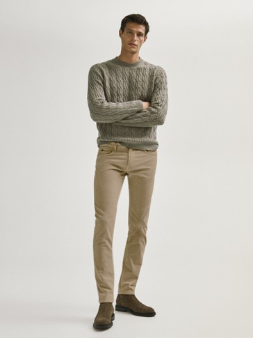 Slim fit corduroy denim-effect trousers
