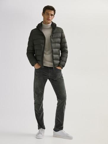 Corduroy broek met denim look slim fit