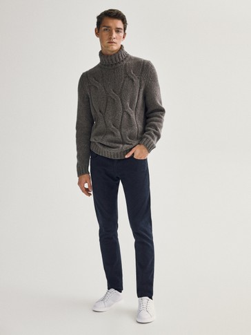 Slim fit cotton denim-effect trousers