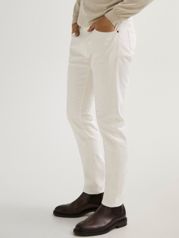 Pantalon type jean en coton slim fit