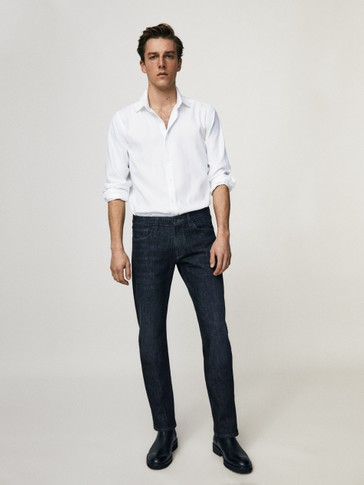 Regular fit rinse wash jeans
