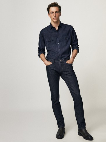 Slim fit desized jeans