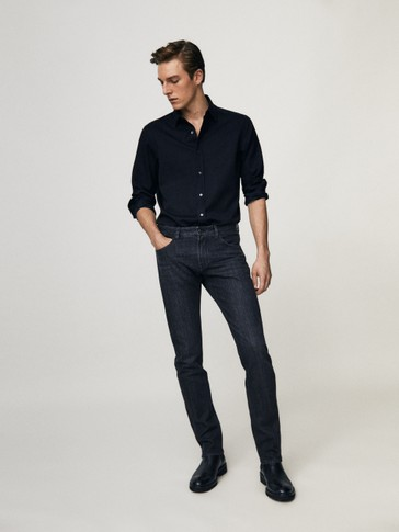 Zwarte stone wash jeans slim fit