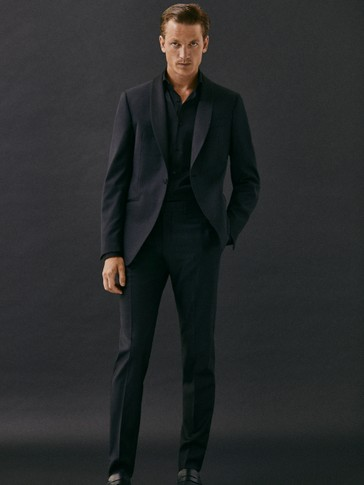 BLACK SLIM FIT TUXEDO TROUSERS