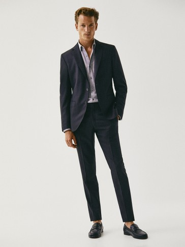 SLIM FIT BIRDSEYE TEXTURED S.130'S WOOL TROUSERS