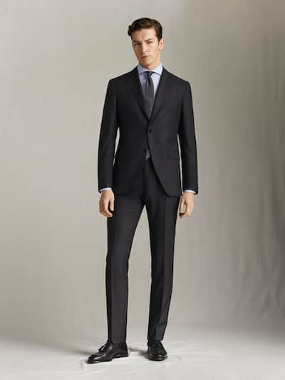 마시모두띠 정장 바지 Massimo Dutti SLIM FIT BIRDSEYE TEXTURED S.130S WOOL TROUSERS,CHARCOAL