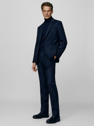 마시모두띠 정장 바지 Massimo Dutti NAVY SLIM FIT TUXEDO TROUSERS,NAVY BLUE