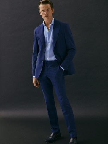 Slim fit navy textured s.120's wool trousers