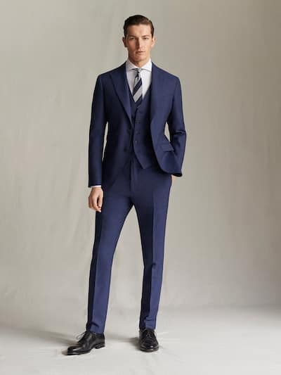 마시모두띠 정장 바지 Massimo Dutti SLIM FIT NAVY TEXTURED S.120S WOOL TROUSERS,BLUE