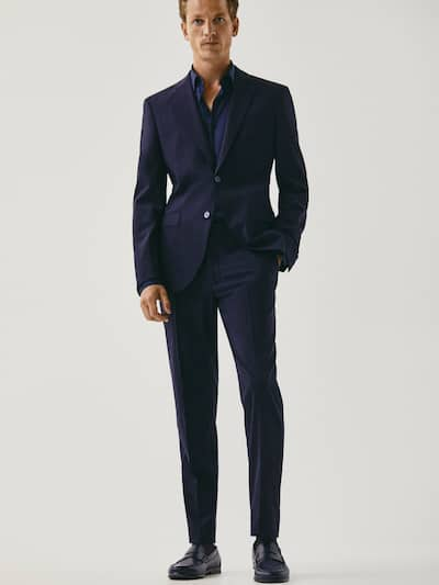 마시모두띠 정장 바지 Massimo Dutti COMFORT SLIM FIT NAVY WOOL TROUSERS,NAVY BLUE