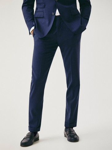 Slim fit textured weave super 120's wool trousers