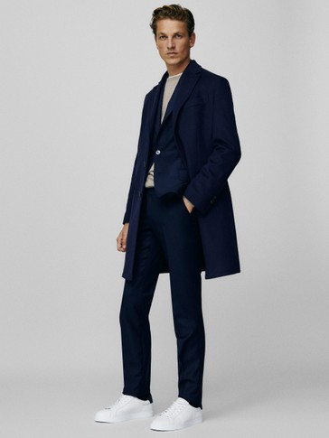 Slim fit textured s.130's wool trousers