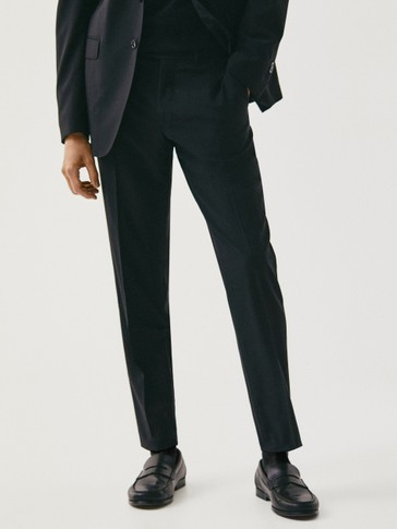 Slim fit black wool trousers